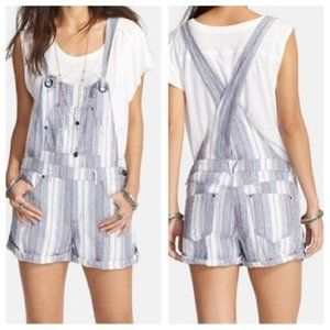 Free People Blue & White Striped Shorts Overalls